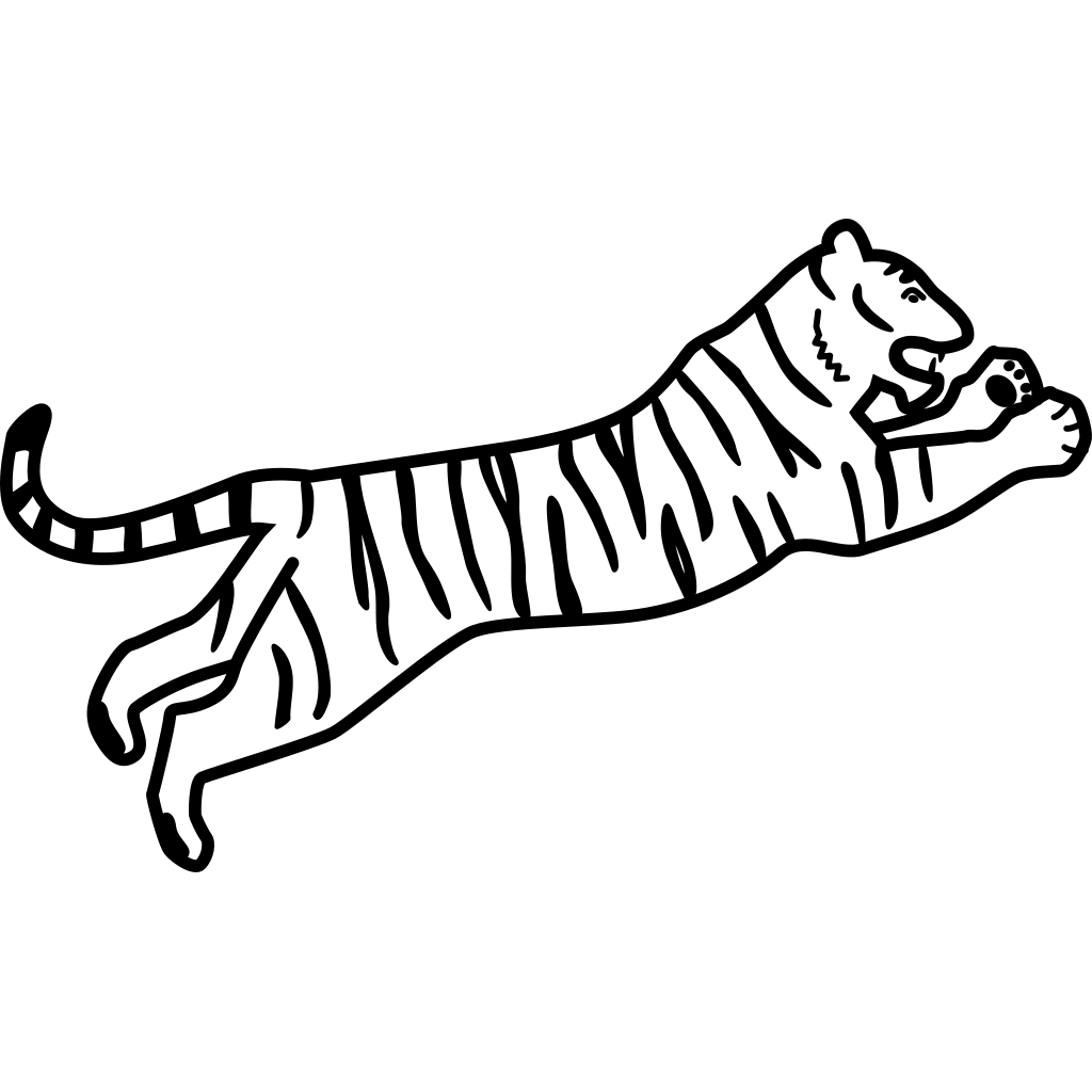 Tiger Jumping Outline SVG Clip arts