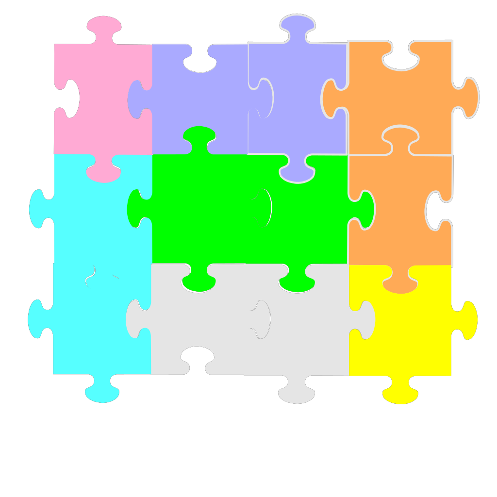 Jigsaw Puzzle 4 Pieces SVG Clip arts