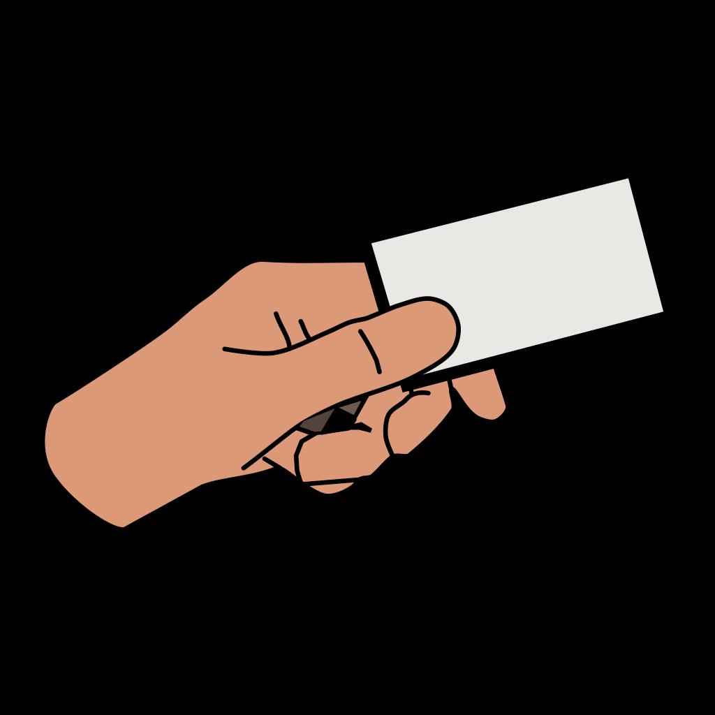 Simple Cartoon Hand Holding Card SVG Clip arts