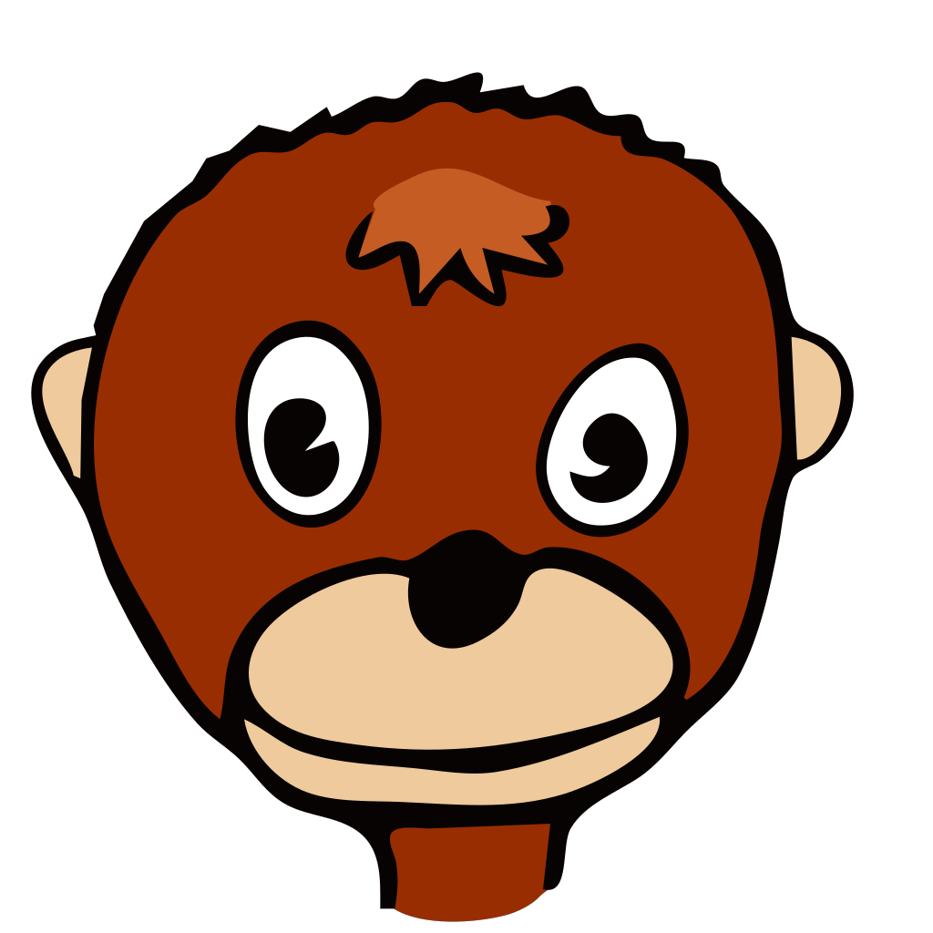 Cartoon Monkey Face SVG Clip arts
