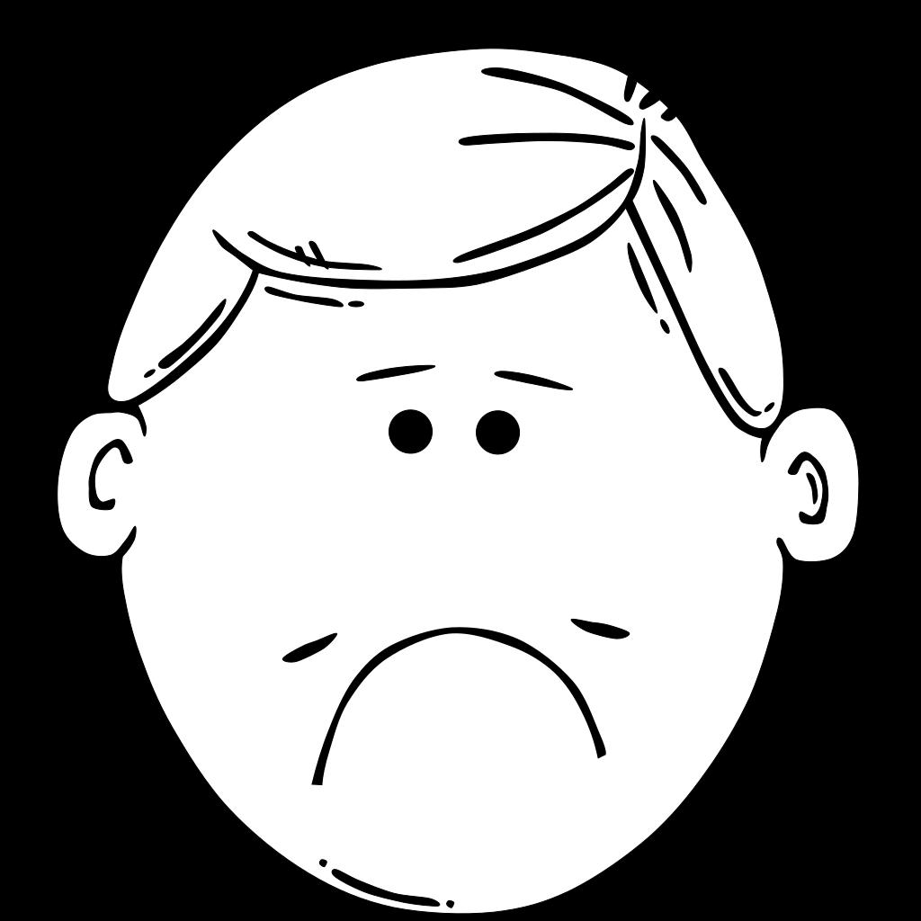 Sad Boy Outline SVG Clip arts