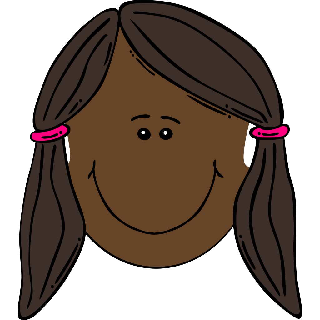 Blushing Girl With Pigtails Outline SVG Clip arts