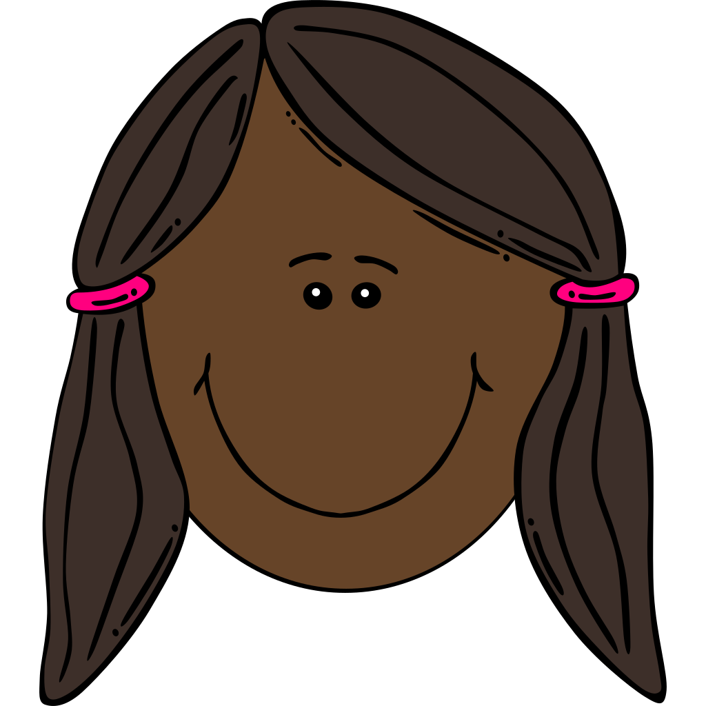 Blushing Girl With Pigtails SVG Clip arts