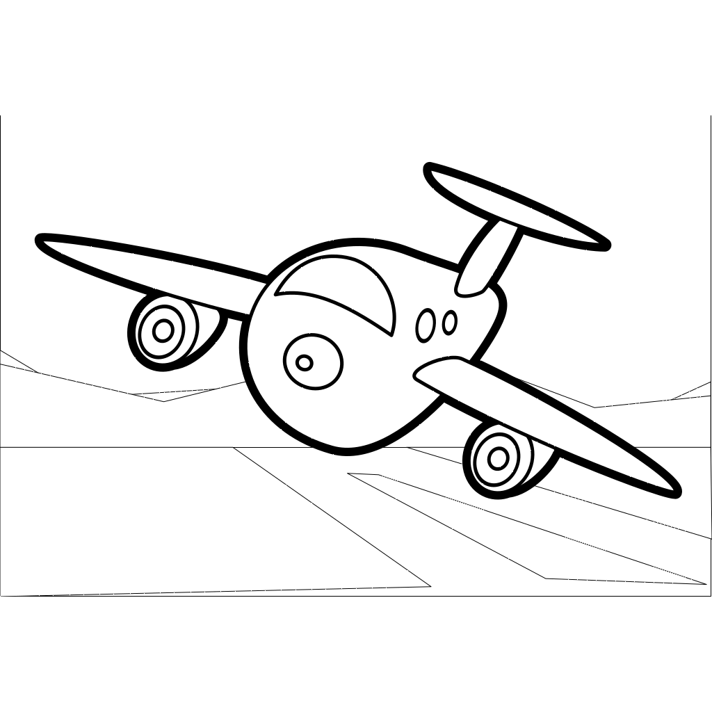 Big Cartoon Plane Outline SVG Clip arts