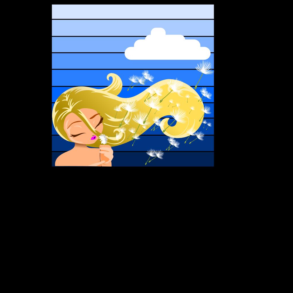 Girl Blowing A Dandelion SVG Clip arts