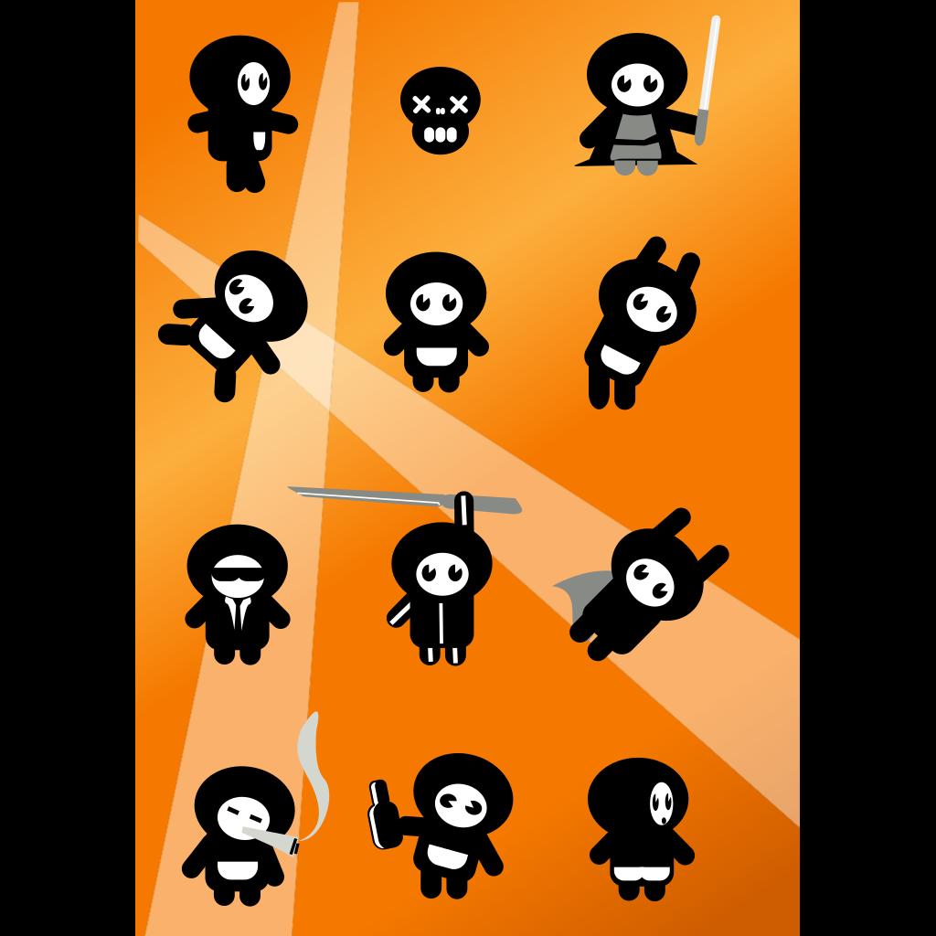 Set Of Small Cartoon Figures SVG Clip arts