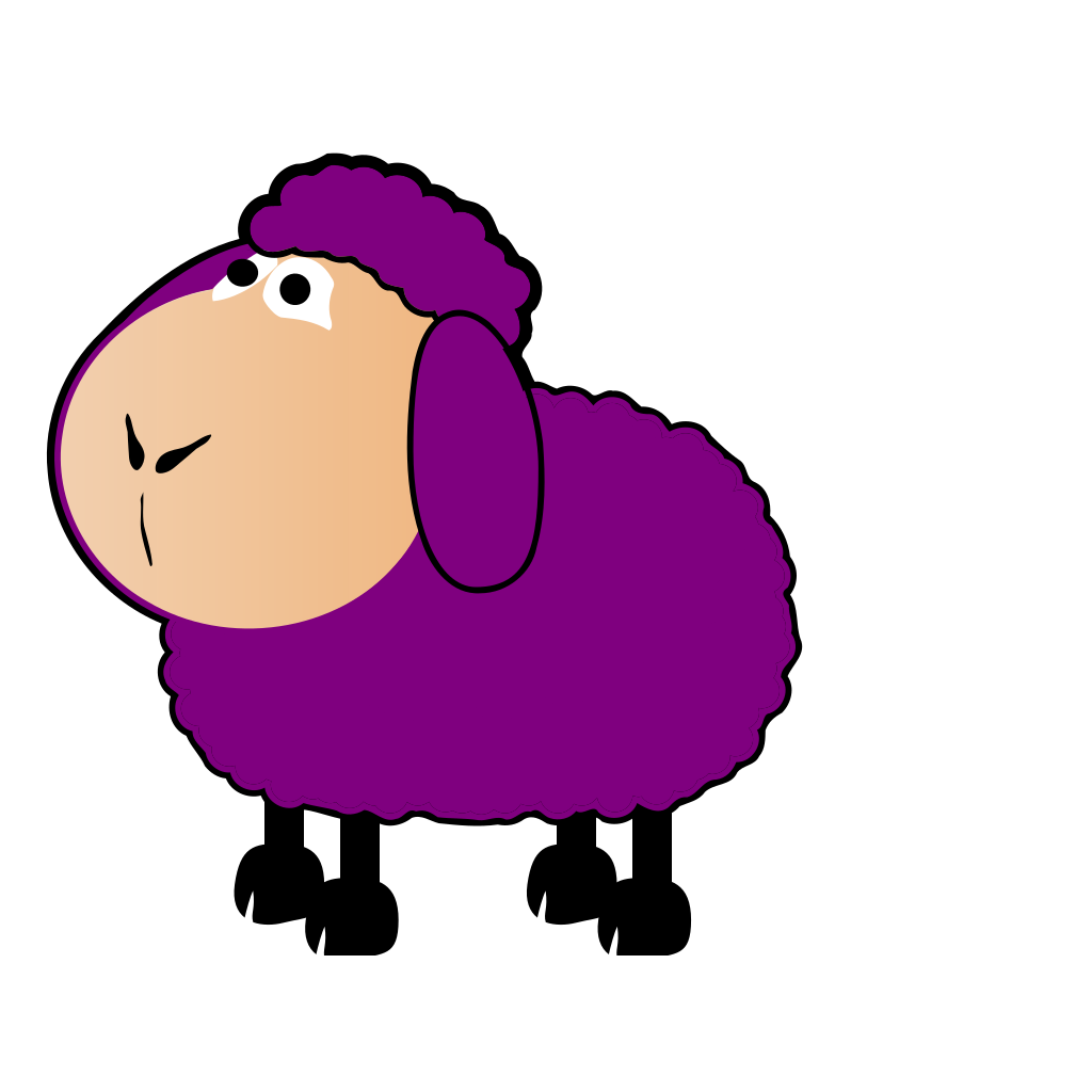 Purple Sheep Looking Up SVG Clip arts
