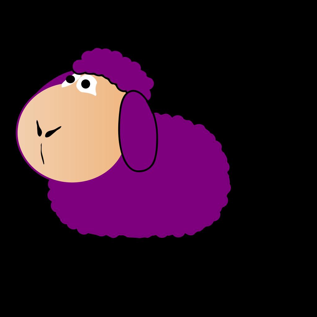 Purple Sheep Looking Up SVG Clip arts