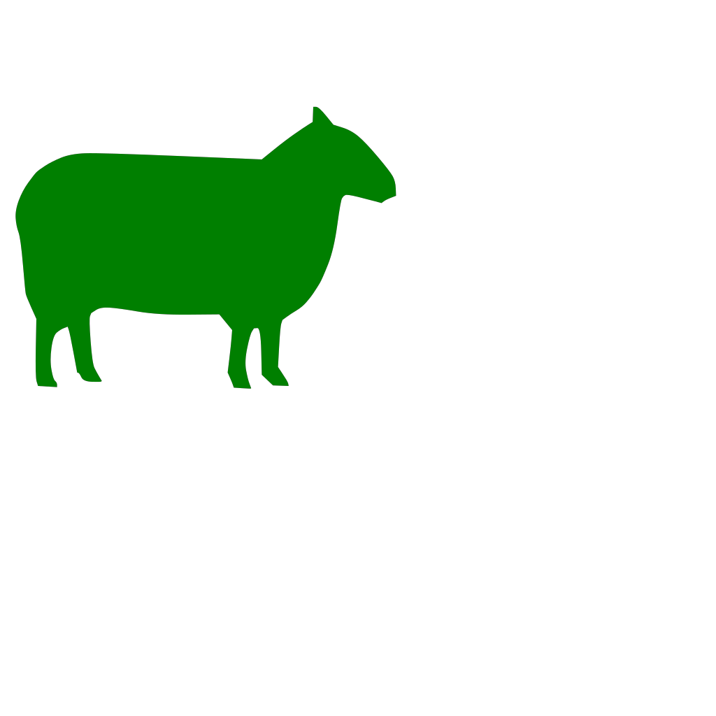 Green Sheep Looking Right SVG Clip arts