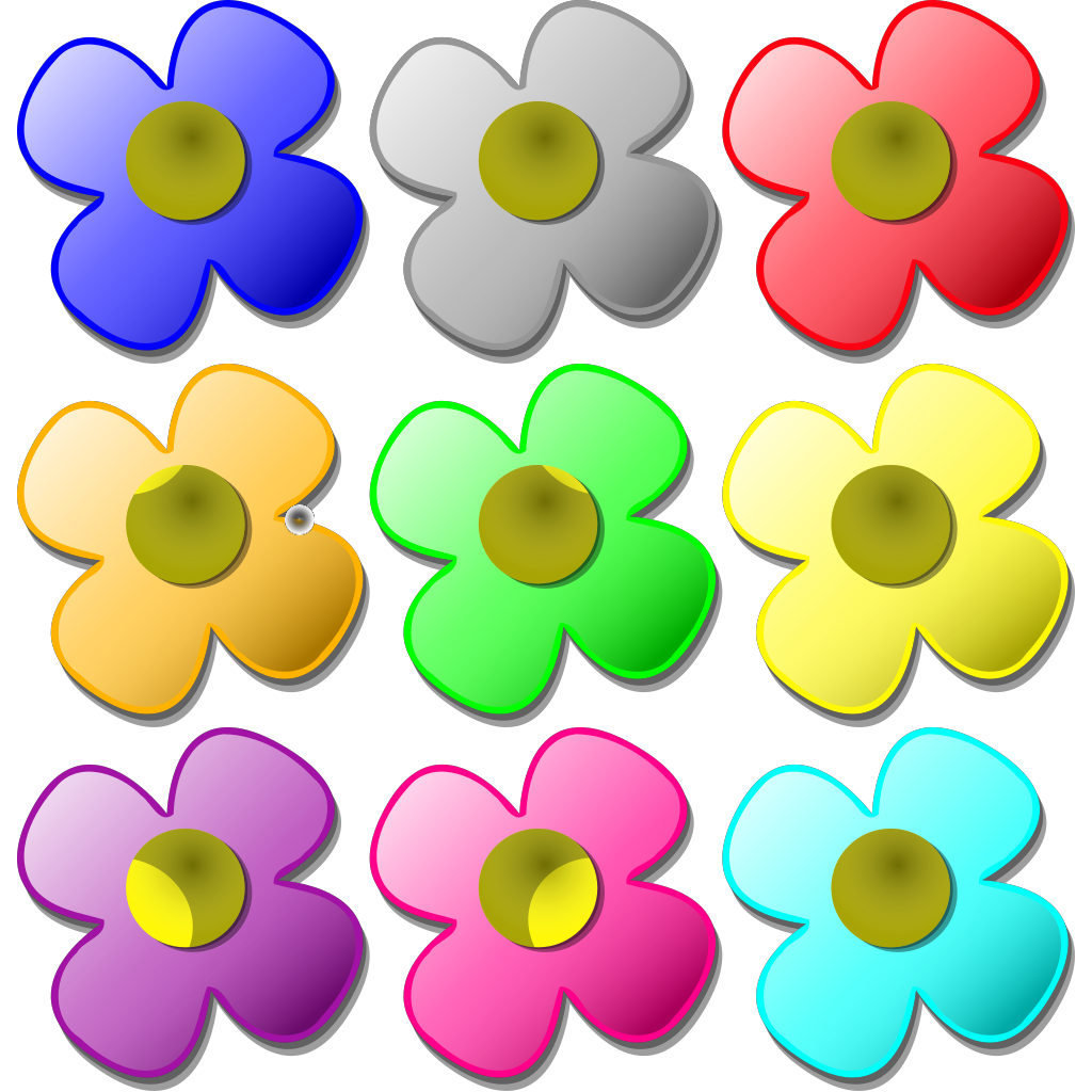 Colored Flowers SVG Clip arts