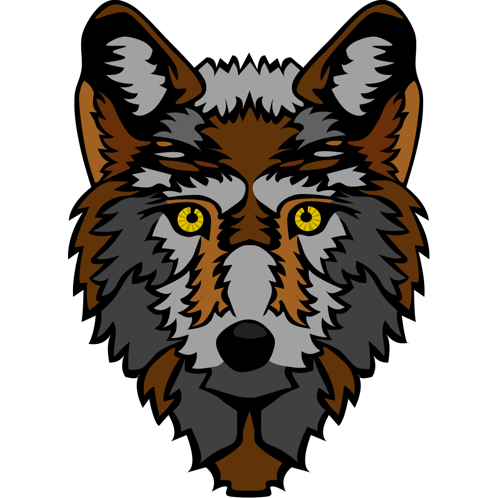 Stylized Wolf Head SVG Clip arts