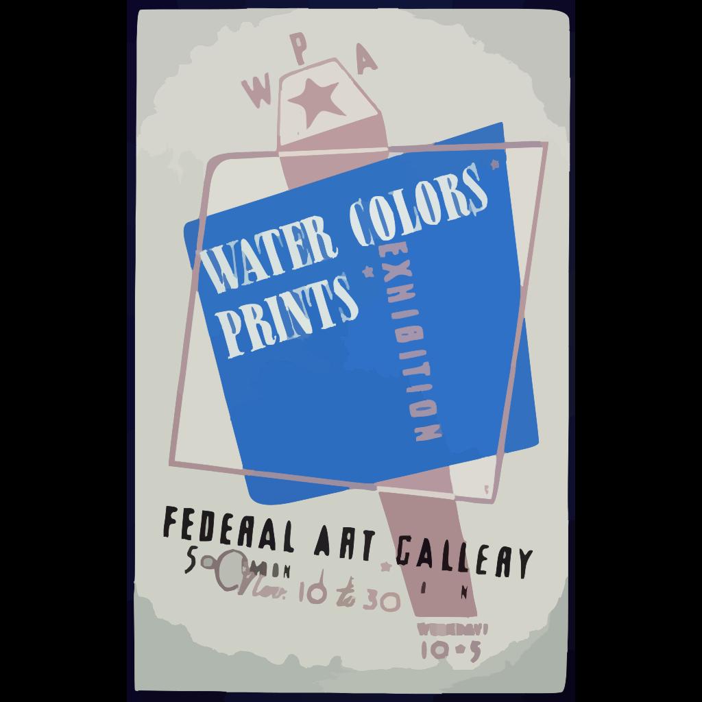 Wpa Water Colors, Prints Exhibition, Federal Art Gallery  / Hg [monogram]. SVG Clip arts