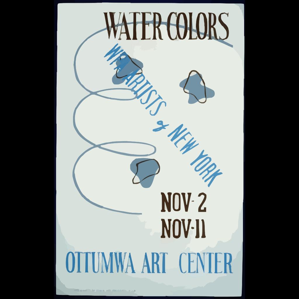 Water Colors, Wpa Artists Of New York, Ottumwa Art Center  / Designed & Made By Iowa Art Program, W.p.a. SVG Clip arts