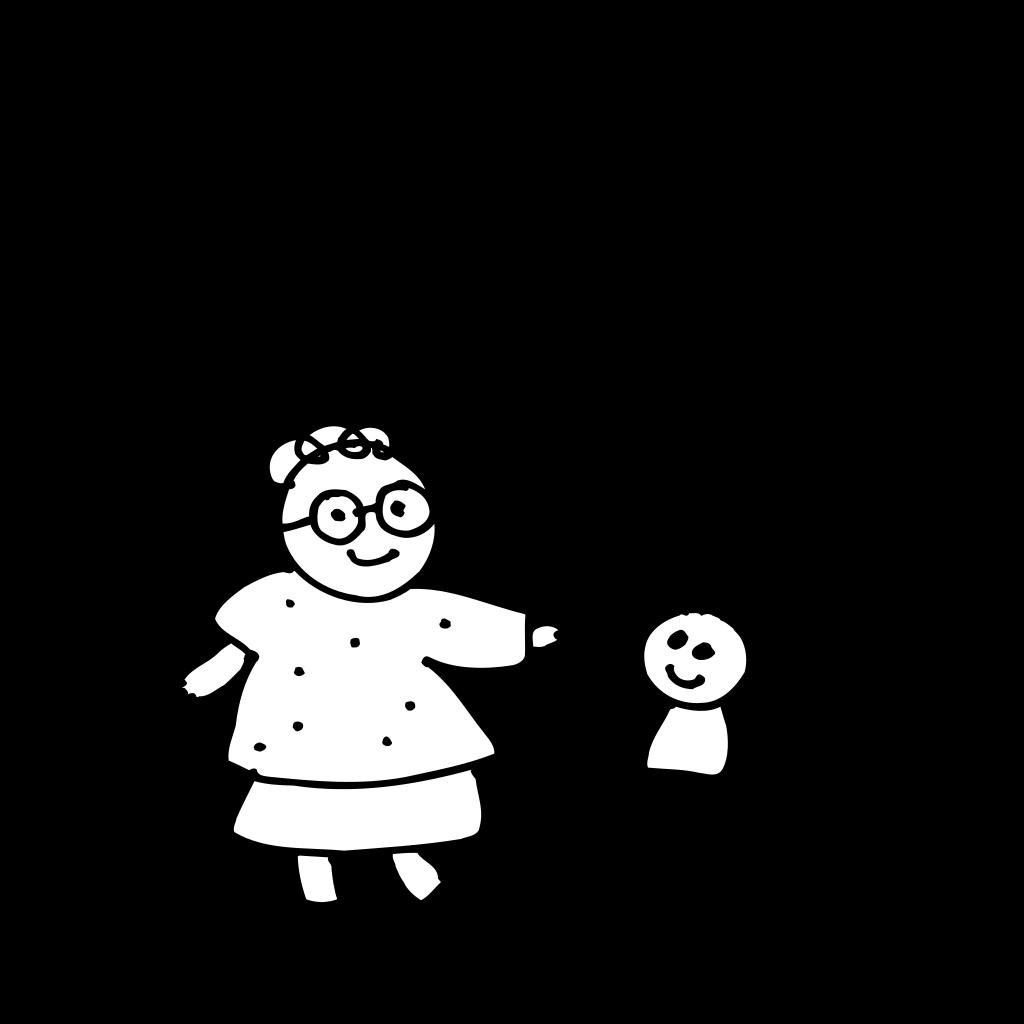 Mom Holding Childs Hand - Outline SVG Clip arts