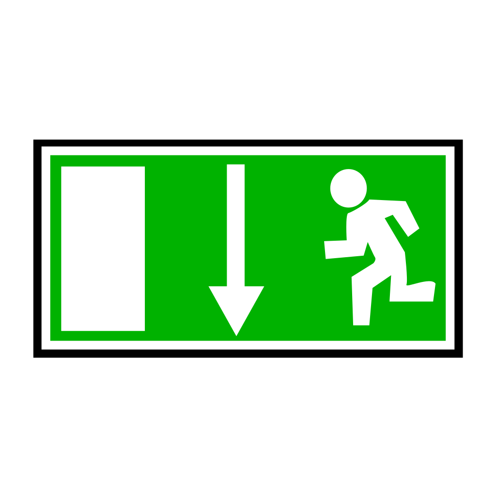 Green Emergency Exit - Down SVG Clip arts