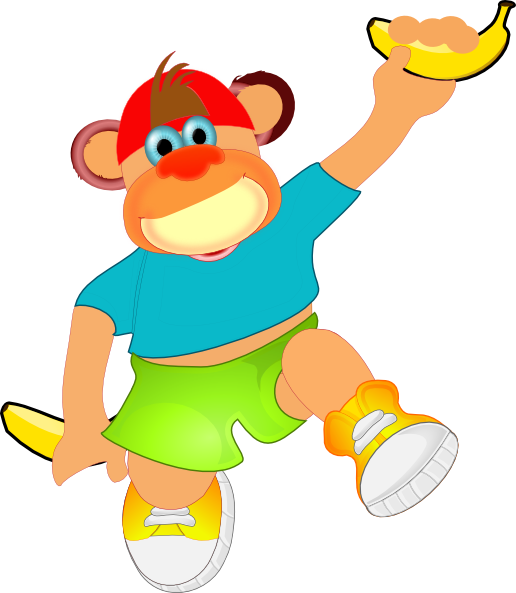Monkey Holding Banana SVG Clip arts