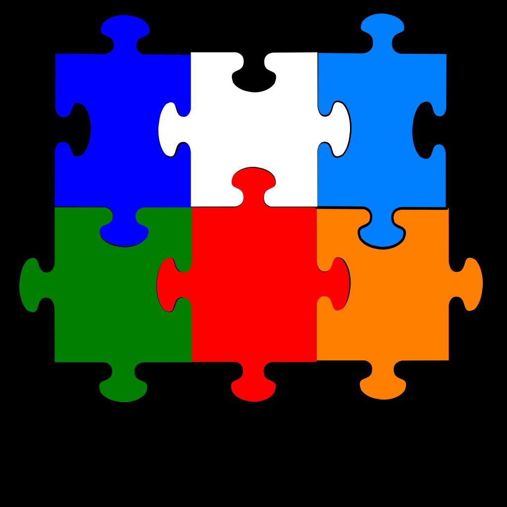 Jigsaw Puzzle 6 Pieces SVG Clip arts