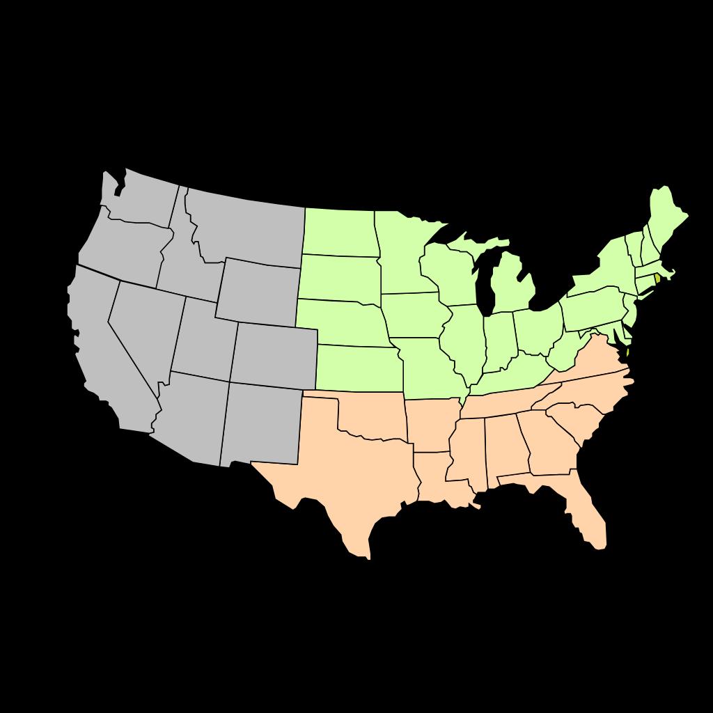 Three-region U.s. Map SVG Clip arts