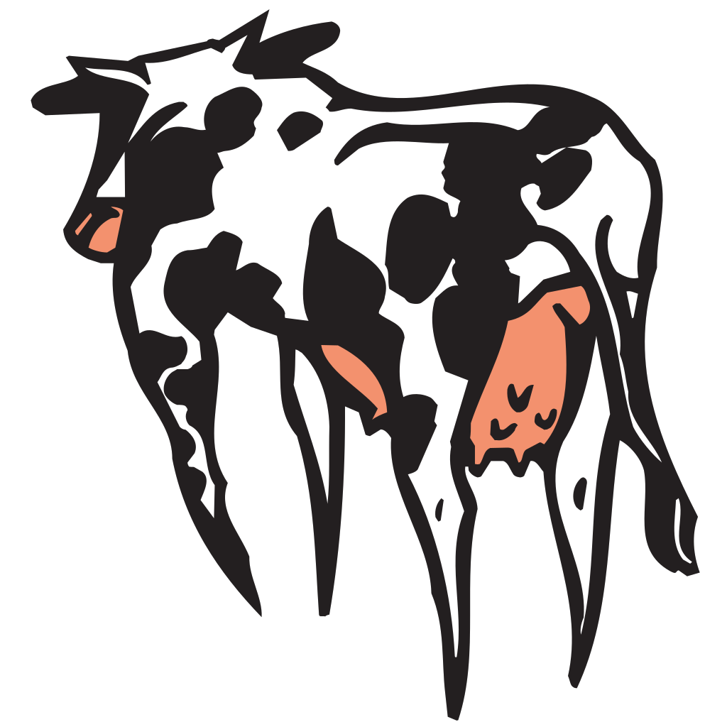 Colored Cow Rear View SVG Clip arts
