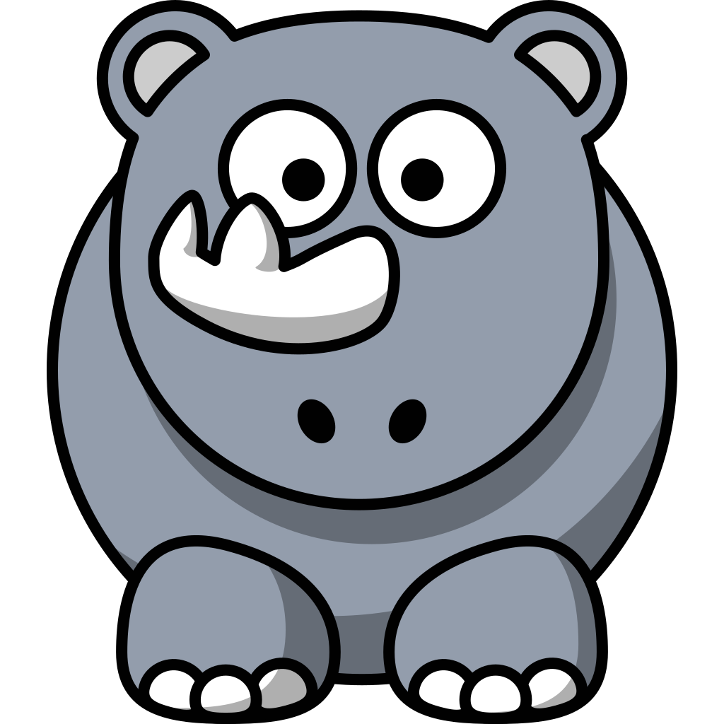Studiofibonacci Cartoon Rhino SVG Clip arts