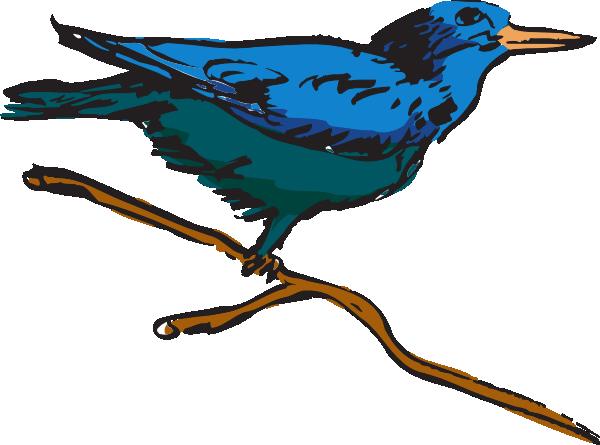 Blue Perched Bird Art SVG Clip arts