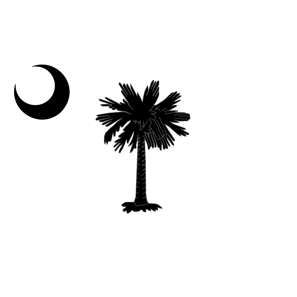 South Carolina State Flag Palmetto And Crescent Moon In Black SVG Clip arts