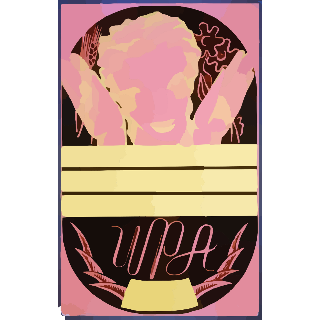 [wpa Poster Design On Red Background Showing The Head And Hands Of A Woman Holding Flowers And Wheat Above A Blank Banner] SVG Clip arts