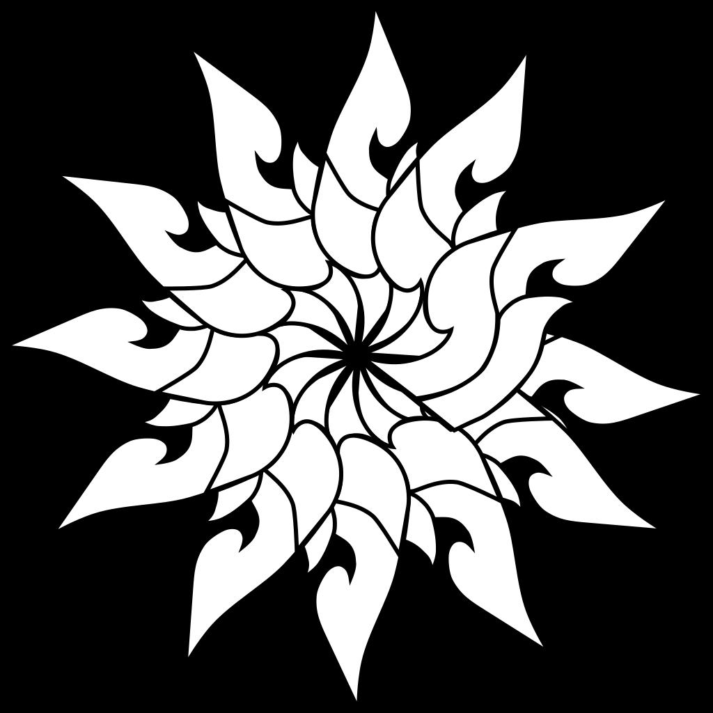 Thailand Floral Decoration Outline SVG Clip arts