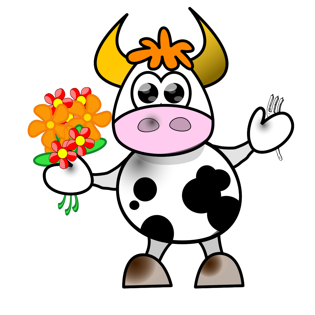 Cow With Flowers And Fork SVG Clip arts