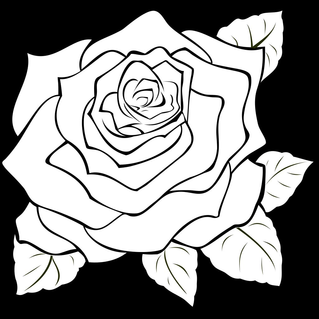 Uncoloured Rose SVG Clip arts
