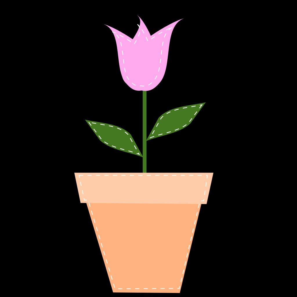 Pink Tulip In Flower Pot SVG Clip arts