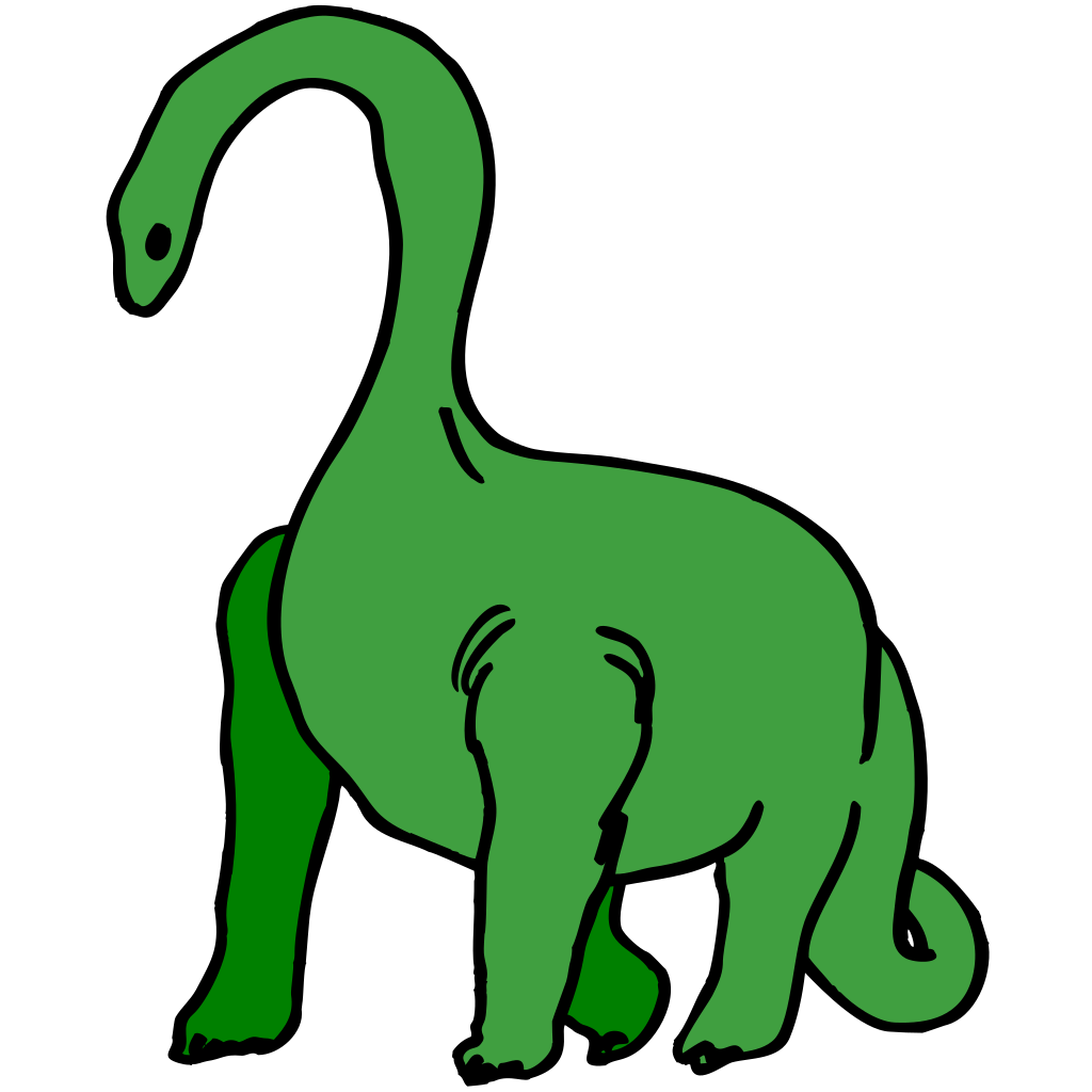 Green Long Necked Dinosaur SVG Clip arts