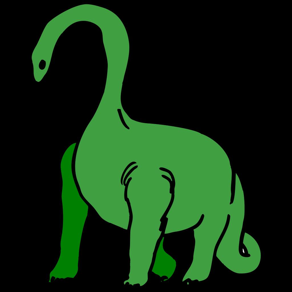 Green Long Necked Dinosaur SVG Clip arts