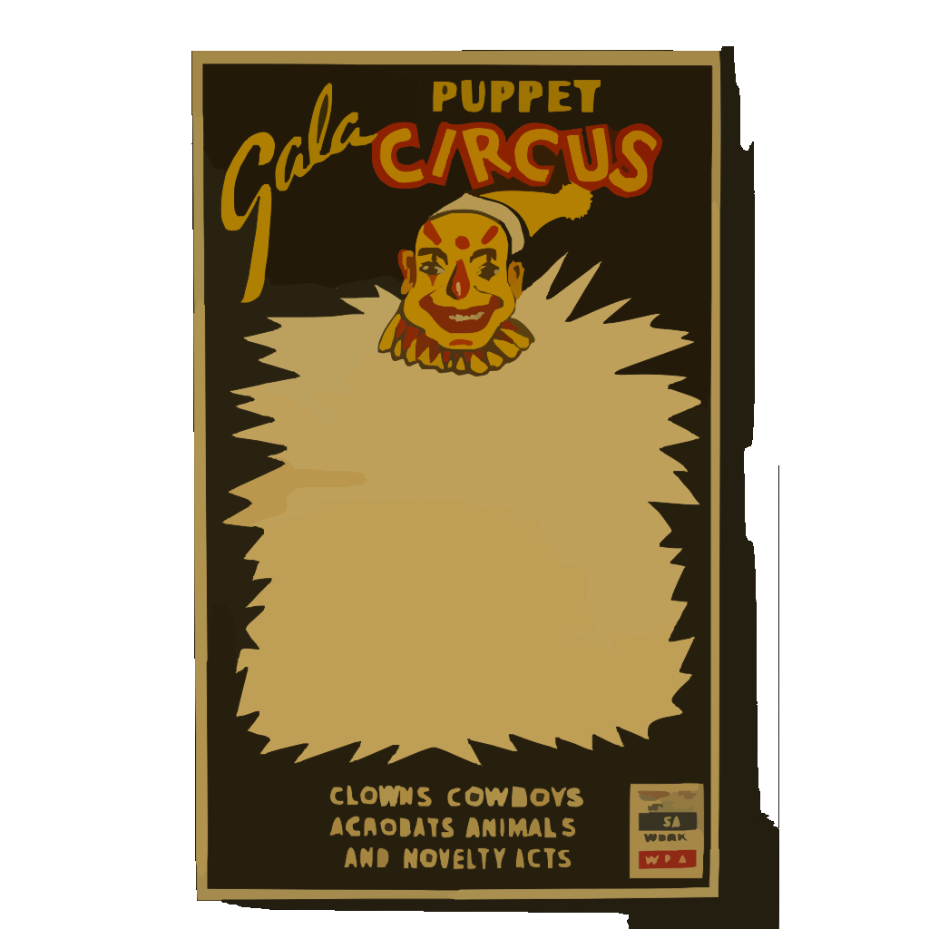 Gala Puppet Circus Clowns, Cowboys, Acrobats, Animals, And Novelty Acts. SVG Clip arts