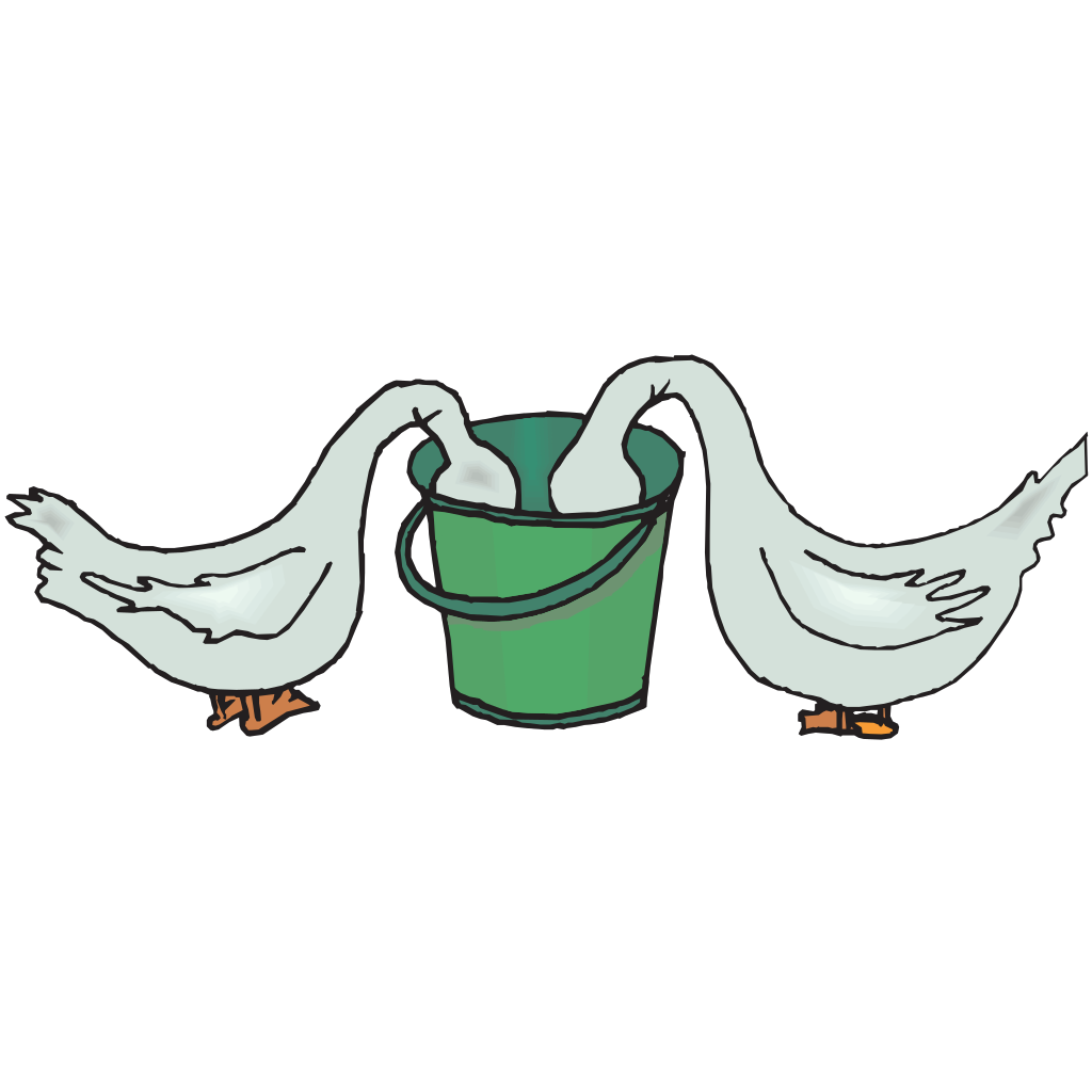 Geese Eating From A Bucket SVG Clip arts