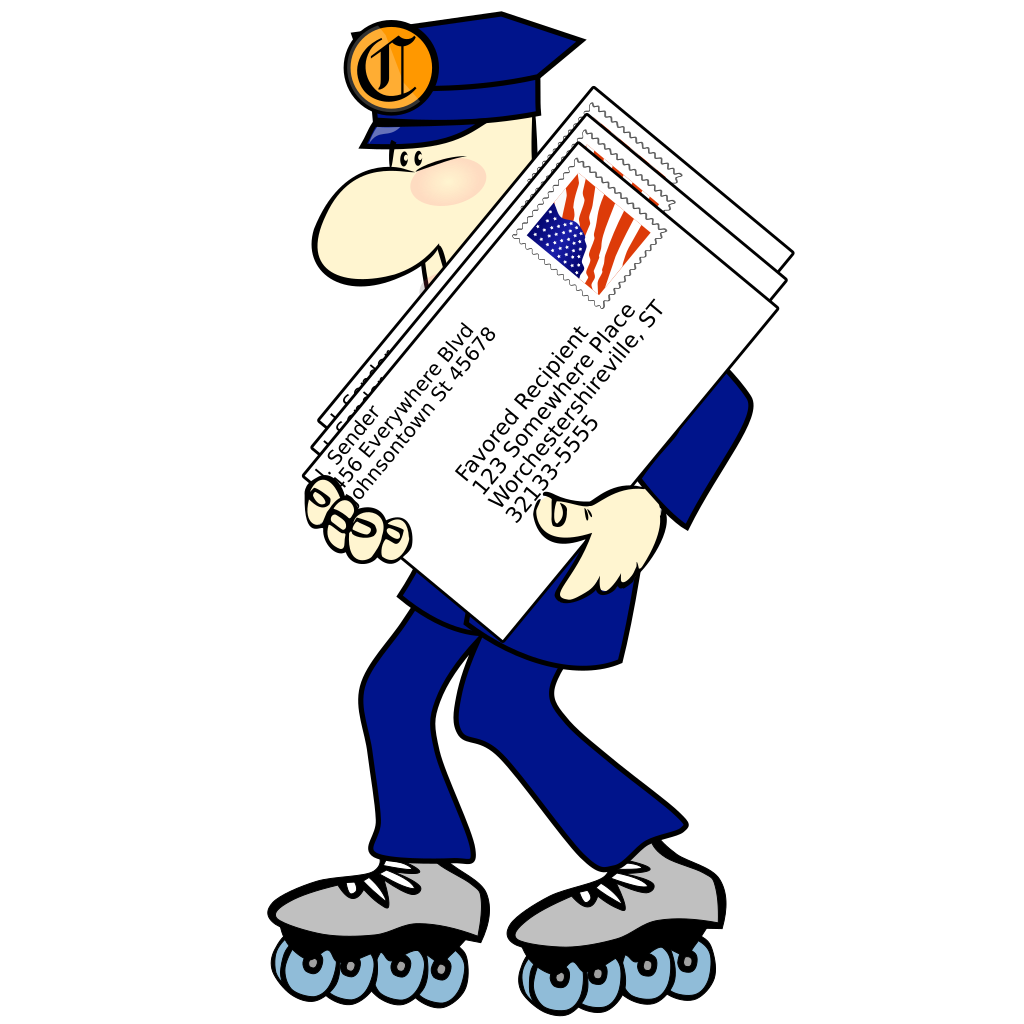 Postman Wearing Skates SVG Clip arts