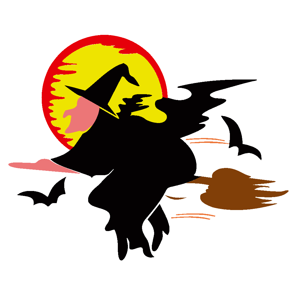 Witch Over Harvest Moon SVG Clip arts