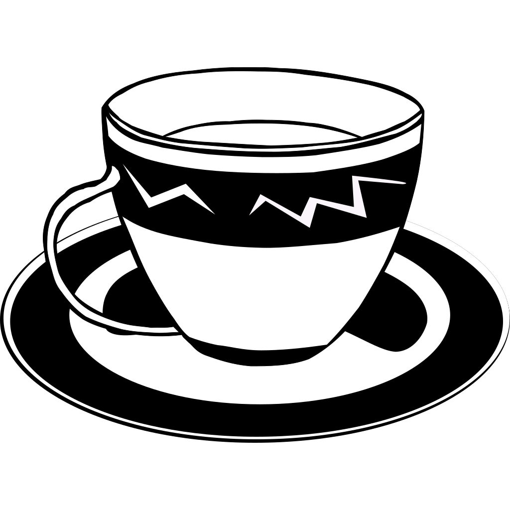 Teacup (b And W) SVG Clip arts