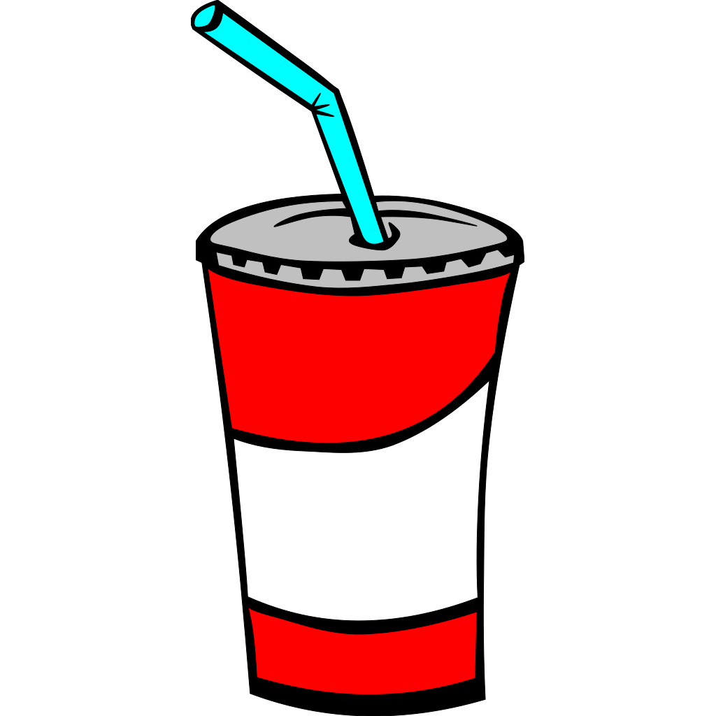 Soft Drink In A Cup (b And W) SVG Clip arts