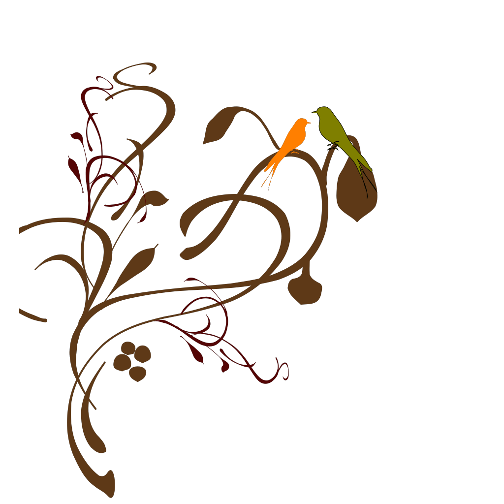 Birds On A Branch SVG Clip arts