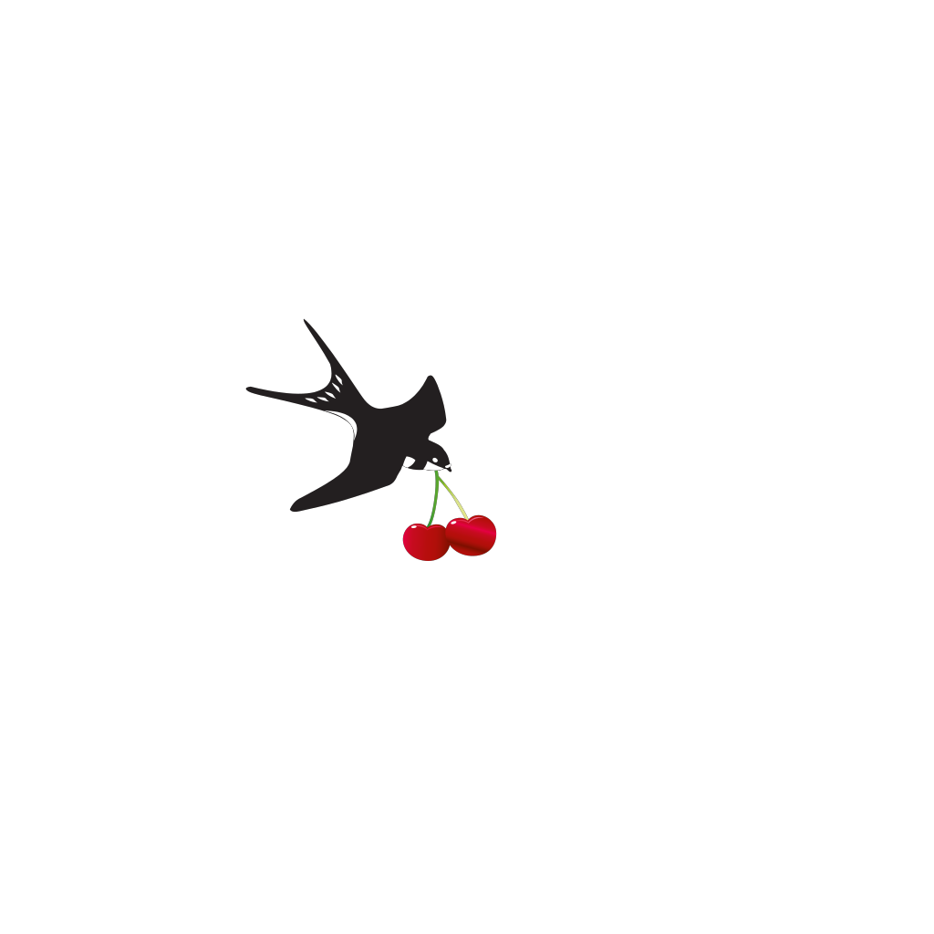 Cherry Bird Swallow SVG Clip arts