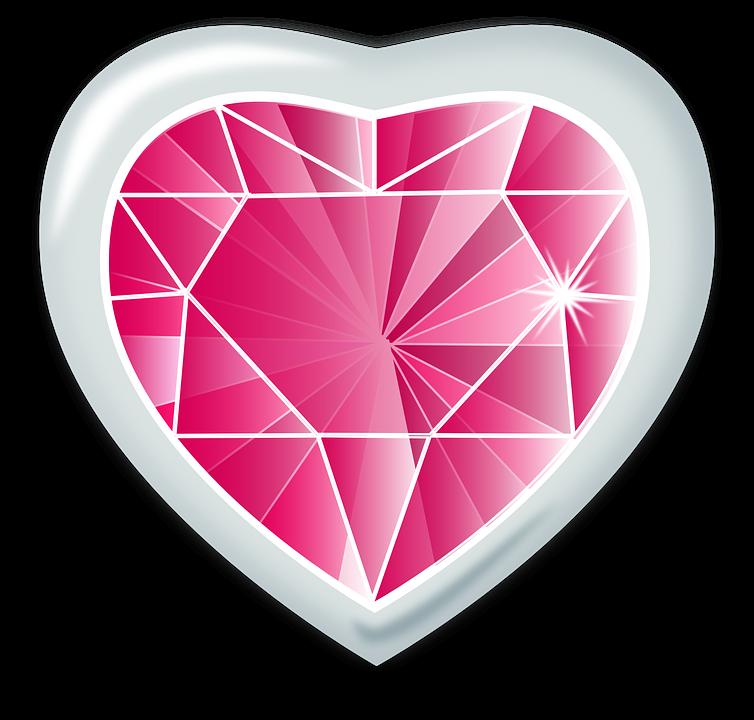 Pink Diamond Heart PNG Transparent Image SVG Clip arts