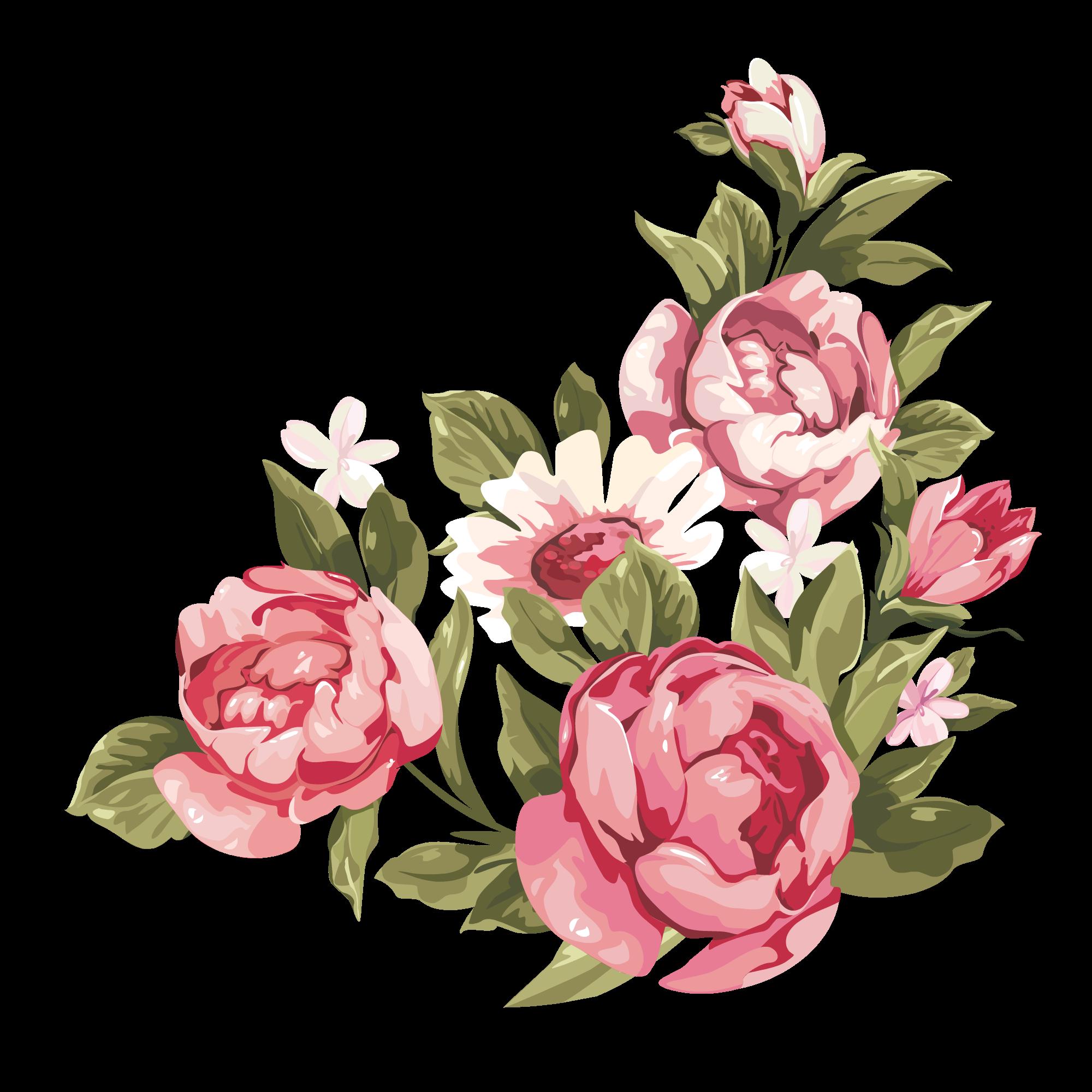 Romantic Pink Flower Border PNG Clipart SVG Clip arts