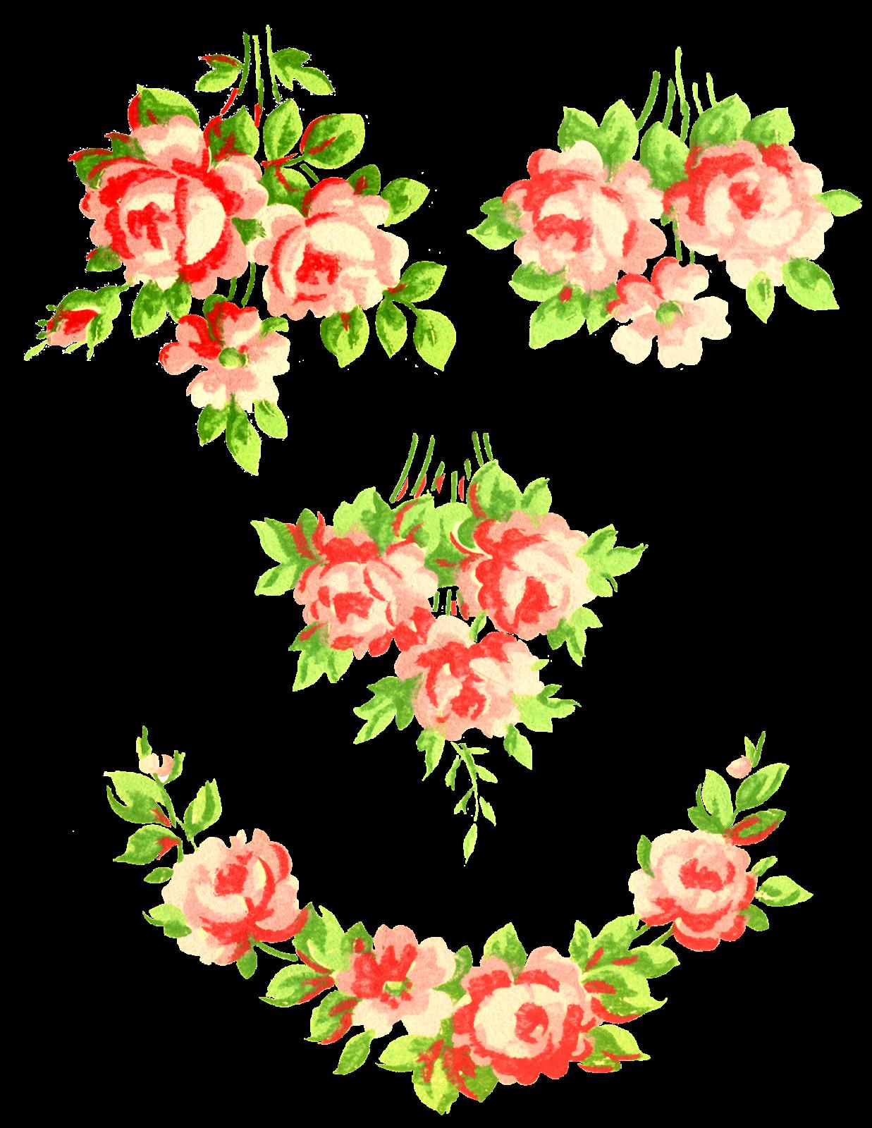 Romantic Pink Flower Border PNG Pic SVG Clip arts