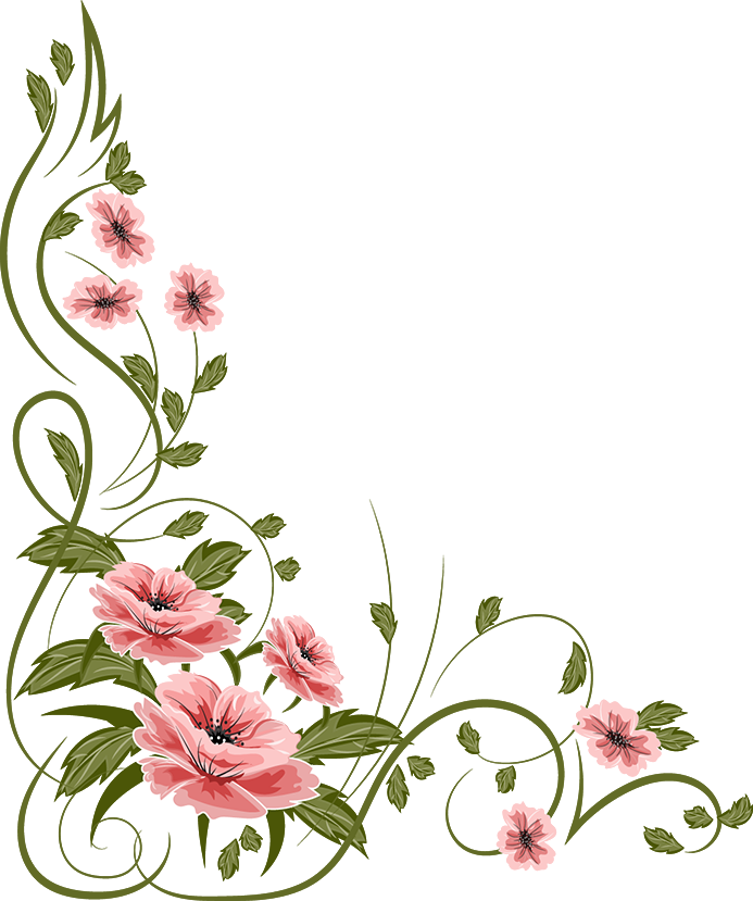 Romantic Pink Flower Border Transparent Background SVG Clip arts