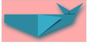 Blue Origami Whale PNG Clip art