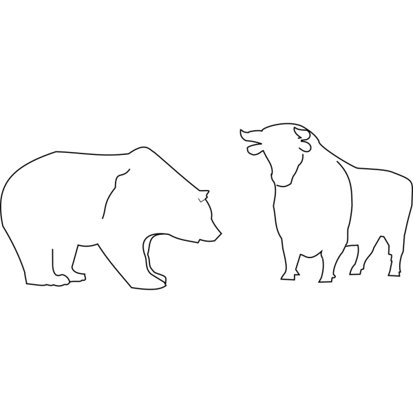 Bull And Bear Outline PNG Clip art