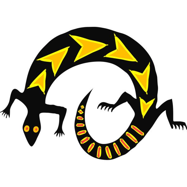 Gold And Black Abstract Lizard PNG Clip art