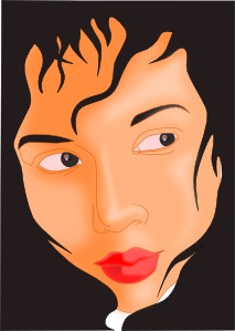 Girl Face In Black Frame PNG Clip art