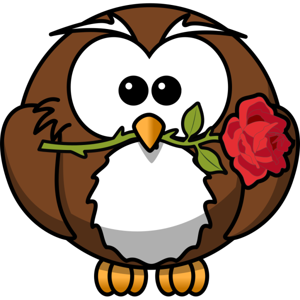Owl With Rose PNG Clip art